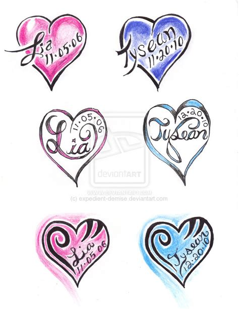heart tattoos designs with names names design tattooshunt