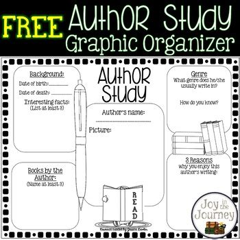 printable graphic organizer for author s purpose free author study graphic organizer by joy in the journey