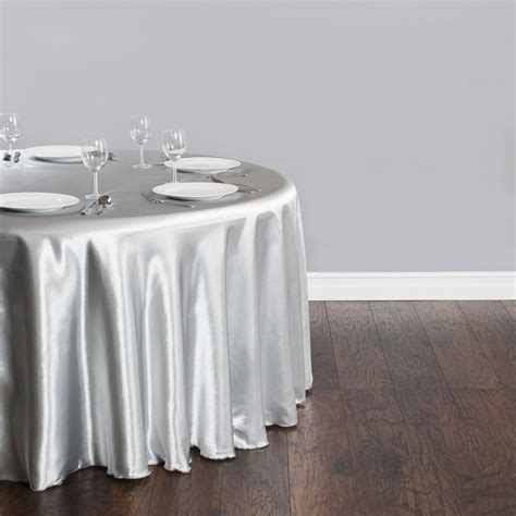 free shipping 10pcs cheap silver 90 satin table