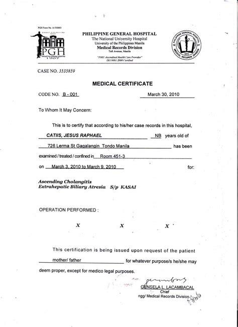 certificate medical certificate sle