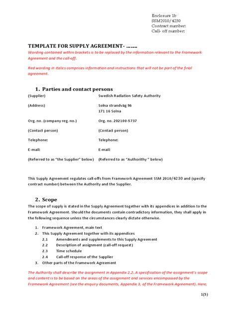 Supply Contract Template   2 Free Templates in PDF, Word