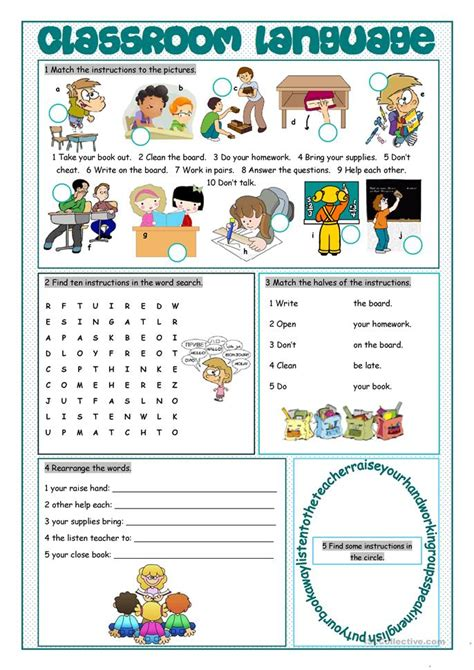 Classroom Worksheets by Esl Vocabulary Worksheets High School Classroom Language