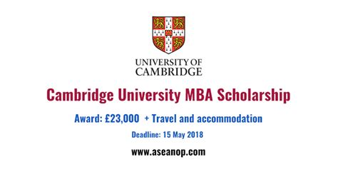 Cambridge Executive Mba Fees by Cambridge Mba Scholarship 2018 Fully Funded