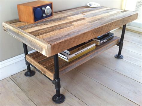 industrial wood steel coffee table or media stand