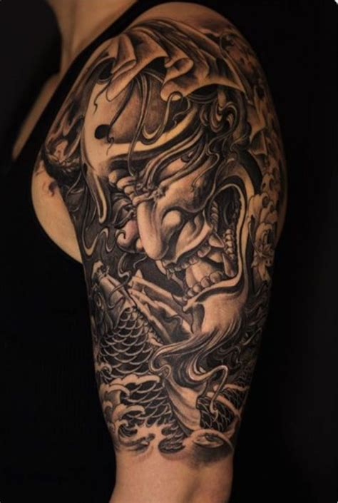 realistic hannya mask tattoo 47 fantastic hannya sleeve tattoos