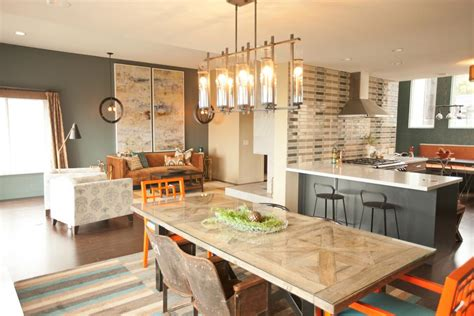 Kitchen Great Room Designs Kitchen And Great Room With Orange Chairs Fireplace Loczi Design Hgtv
