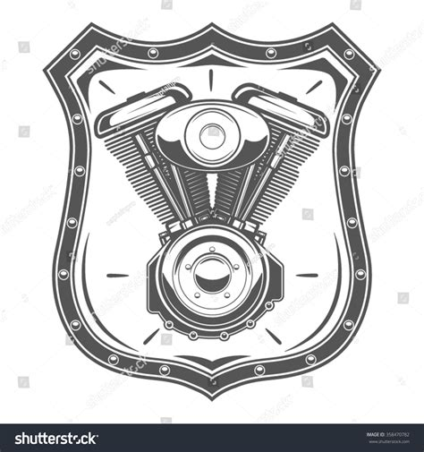 vector motor layout motorcycle engine emblem badge and design elements stock
