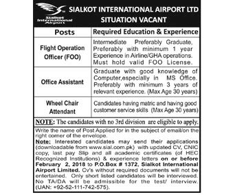 sialkot international airport limited jobs 2018 online