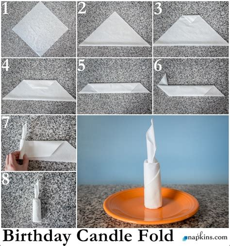 Table Napkin Origami - birthday candle napkin fold how to fold a napkin