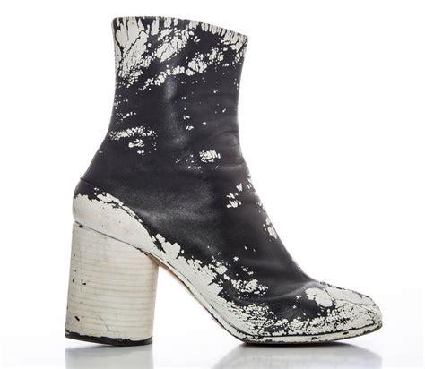maison martin margiela leather painted tabi boots circa