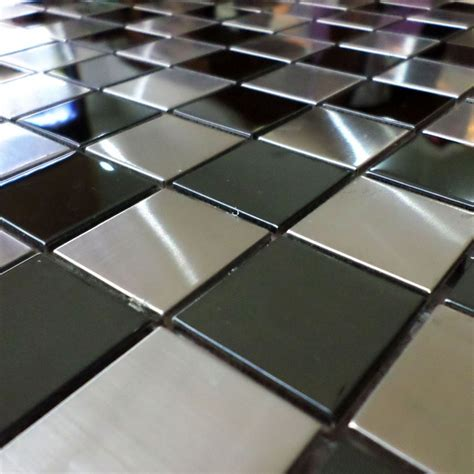 Glass Tile Backsplash Kitchen Pictures 30mm Square Silver Mixed Black Chess Board Stainless Steel