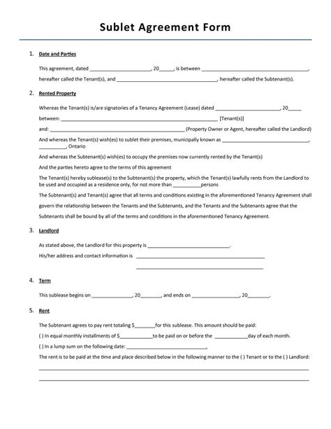 sublet agreement template 40 professional sublease agreement templates forms