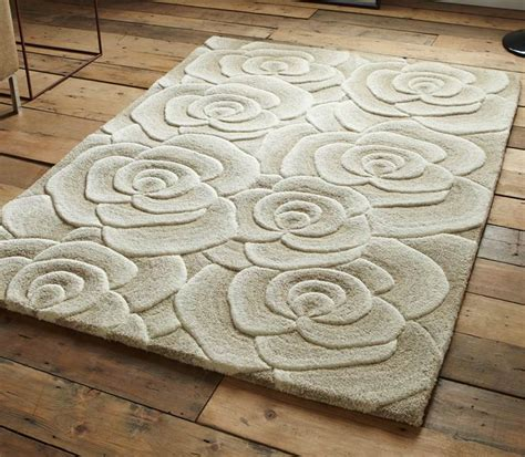 rugs with roses on them beige modern luxury wool rug with large flowers roses design thick dense pile ebay