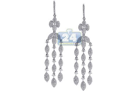 White Gold Chandelier Earrings 14k White Gold 5 36 Ct Womens Chandelier Earrings