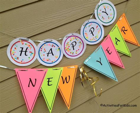 new year banner craft printable happy new year banner activity activities