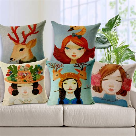 sofa cushion cover designs 1pcs pillowcase various shapes animation haired girl