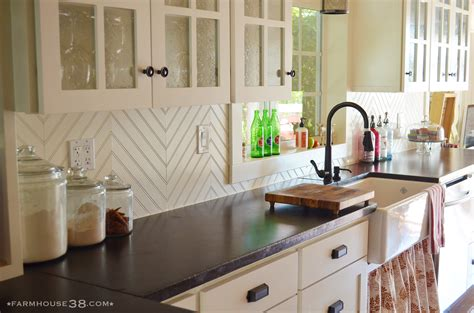 Beadboard Backsplash In Kitchen by Diy Herringbone Beadboard Backsplash Farmhouse38