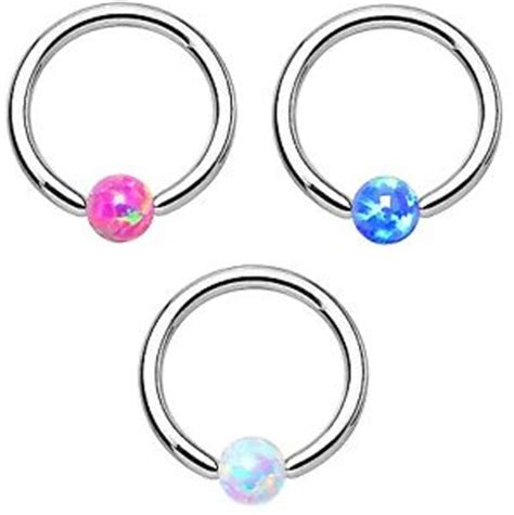 tragus captive bead ring synthetic opal color cbr captive bead ring tragus helix