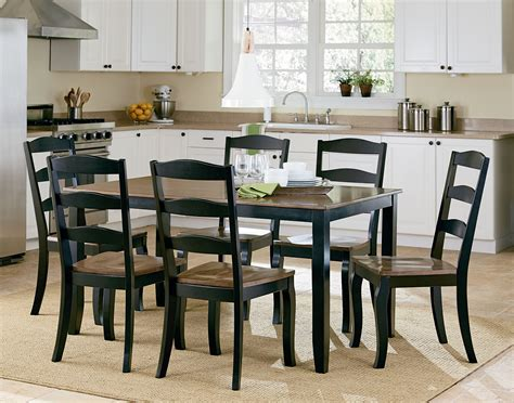highland brown and black 7 piece dining room set 16542