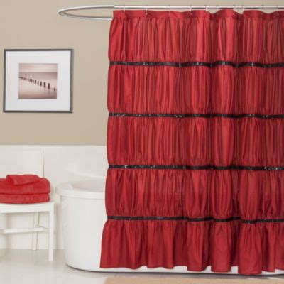 red bathroom shower curtains buy black red shower curtain from bed bath beyond