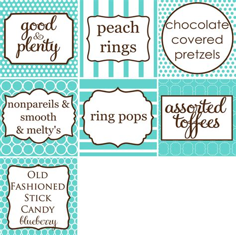 Candy Bar Buffet Labels Sweet 16 Tiffany Inspired Party Pinterest Buffet Signs Templates