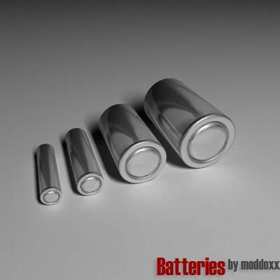 Aaa To Aa Batteries Without Bottom Positive Electrode free batteries aaa aa 3d model