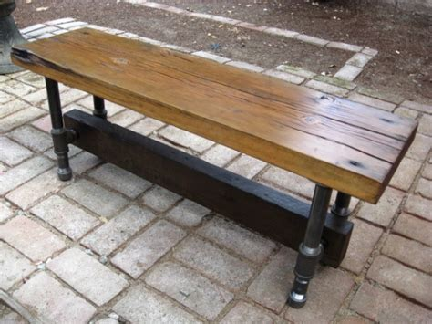galvanized pipe bench sentinel reclaimed wood and galvanized pipe bench table