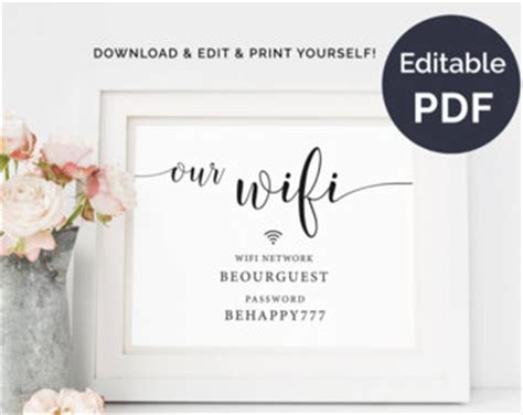 Wifi Password Card Template by Instant Editable Wifi Password Sign Wifi Printable