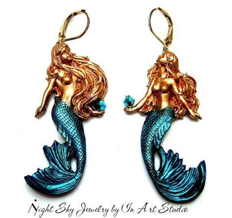 Mermaid Earring mermaid earrings gold and blue mermaid jewelry