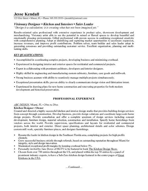 Kitchen Designer Resume | kitchen and bath designer resume sales designer lewesmr