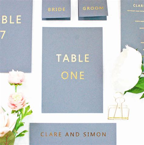 grey and gold desk grey and gold wedding name number flat card by made