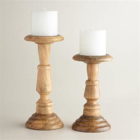Cheap Online Shopping Home Decor natural wood connor pillar candleholder world market