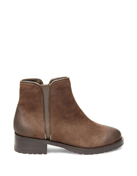 steve madden grrifin leather ankle boots in brown lyst