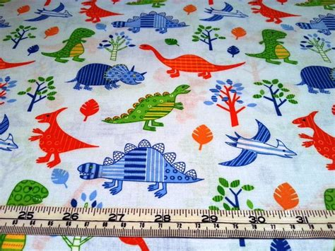 Dinosaur Quilting Fabric by Dinosaurs White Cotton I Quilt Fabric Ebay