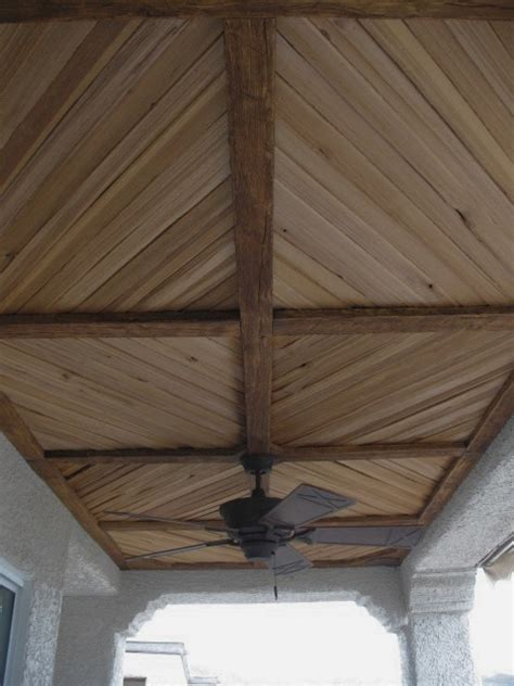 Outdoor Wood Ceiling Planks Covered Patio With Faux Wood Beam And Plank Ceiling