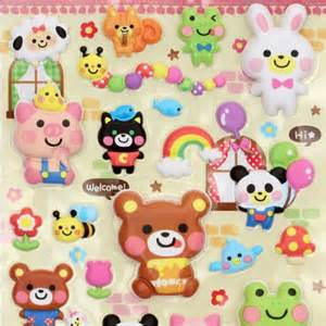Cute sponge 3d sticker kawaii animals from japan sticker sheets