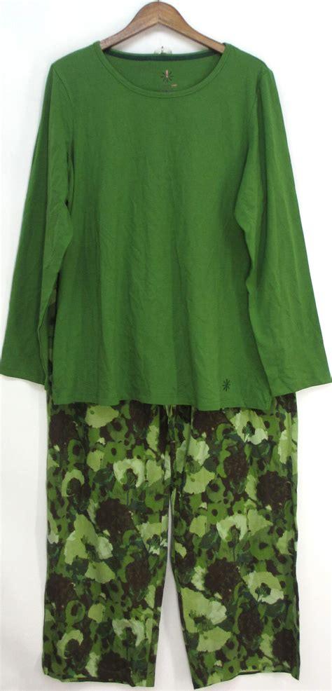 Mallory Sleeve Pajamas 6 isaac mizrahi live sz 1x 2 lounge set pajamas green