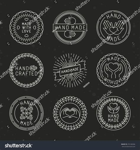 Handcraft Design - vector set linear badges logo design stock vector