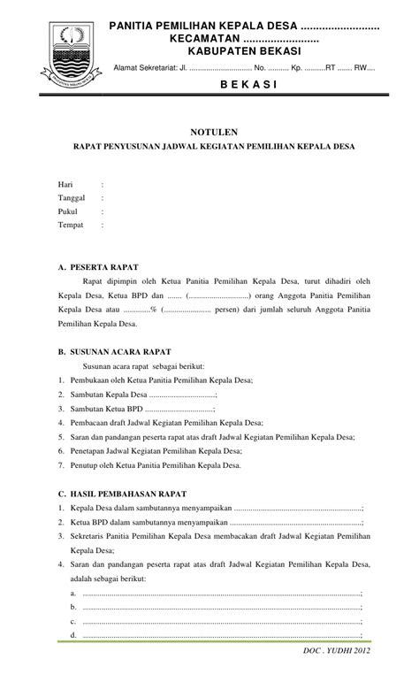 Susunan Notulen Rapat by Contoh Dokumen Pilkades