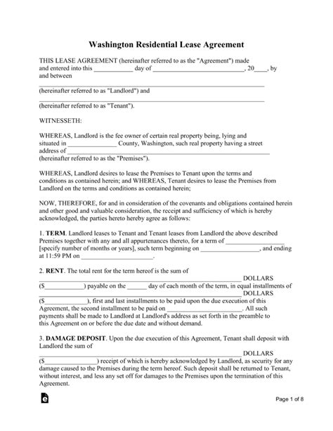 Free Washington Standard Residential Lease Agreement Template Pdf Word Eforms Free Wa State Will Template