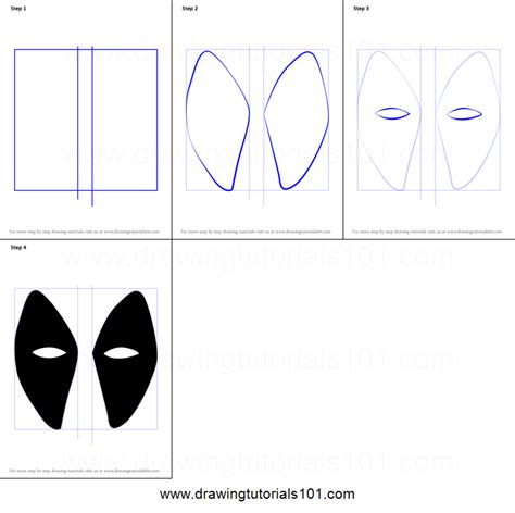 how to draw deadpool mask printable step by step drawing