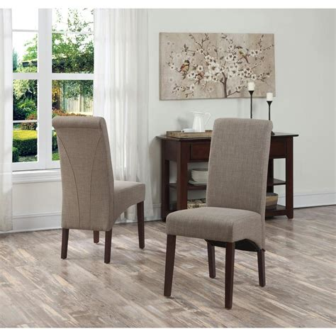 simpli home cosmopolitan 7 light mocha dining set simpli home avalon light mocha polyester parsons dining chair set of 2 ws5134 lml the home depot
