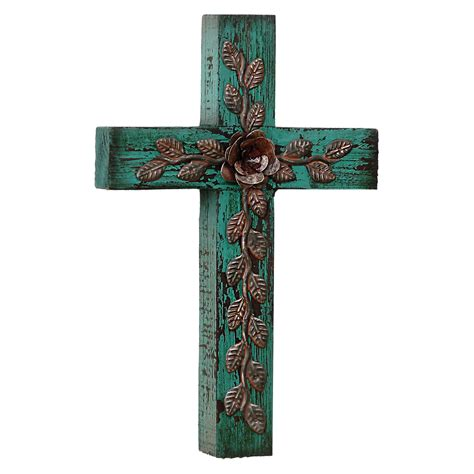 set of 5 wall crosses colorful southwest rustic country desert wildflower wall cross