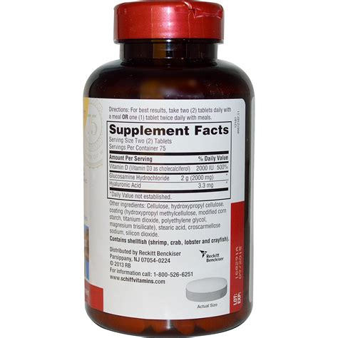 Vitamin Glucosamine Schiff Glucosamine Plus Vitamin D3 2000 Mg 150 Coated