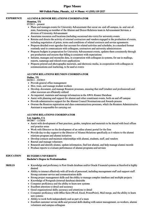Alumni Coordinator Sle Resume by Alumni Relations Coordinator Resume Sles Velvet