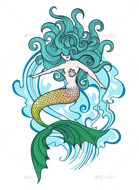 swimming mermaid illustration by olena1983 graphicriver