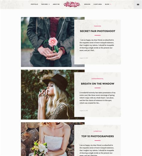 blog layout photography aster photography modern blog layout colormelon