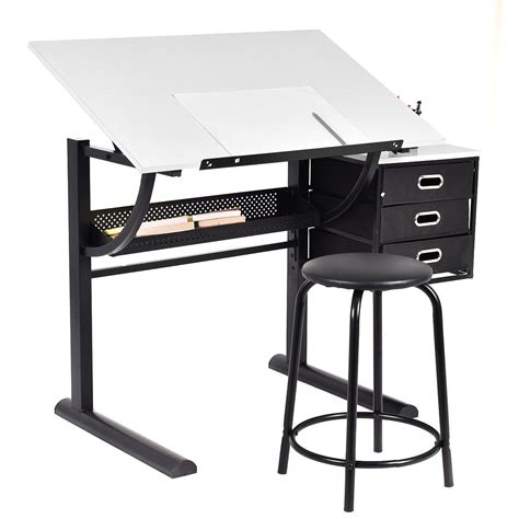 Fold Up Drafting Table Drafting Table And Craft Drawing Desk Hobby Folding Adjustable W Stool