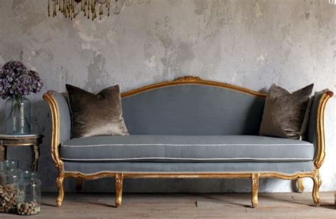 vintage style couches vintage shabby french louis xv style gilt daybed sofa blue