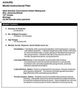 Assure Model Lesson Plan Template by Assure Model Lesson Plans The Hostel Worker